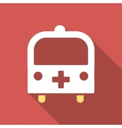 Medical Bus Flat Square Icon with Long Shadow vector