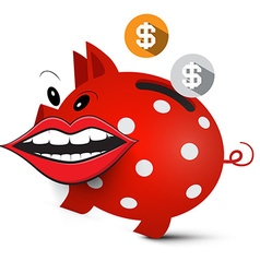 Money Pig Crazy Piggy Bank with Dollar Coins and vector