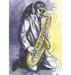 Musician - Sax player vector image
