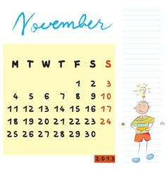 november 2013 vector image