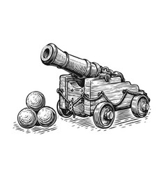 Old pirate ship cannon and cannonballs sketch vector