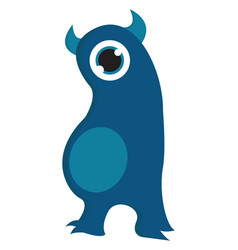 one eyed dark blue monster with light blue belly vector image