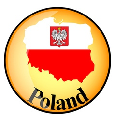 orange button with the image maps of Poland vector image