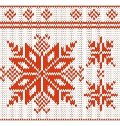 pattern of a seamless red and white knitted vector image