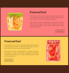 Preserved food banners with fruit or vegetables vector