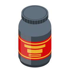 Protein sport jar icon isometric style vector