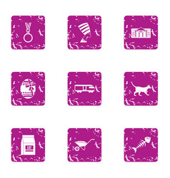 Pussycat icons set grunge style vector