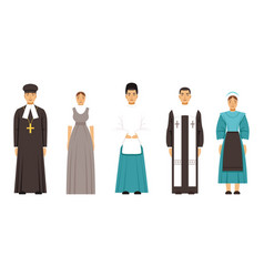 Religion people characters in traditional clothes vector