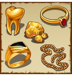 Royal treasure of gold jewelry and tooth vector
