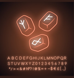 Rune stones neon light icon scandinavian nordic vector