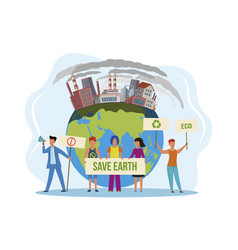Save planet people with placard on vector