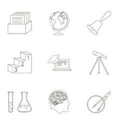 School set icons in outline style Big collection vector