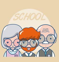 School teachers and students vector
