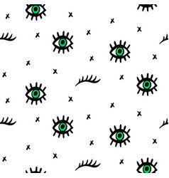 Seamless pattern with hand drawn eyes vector