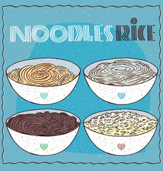 set of four bowls with noodles and rice vector image