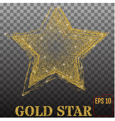 shiny golden star isolated on transparent vector image