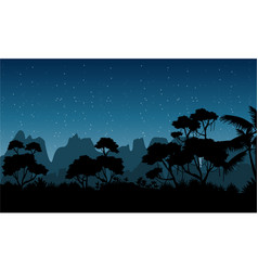 Silhouette of rain forest at the night scenery vector
