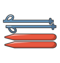 ski and sticks icon cartoon style vector image