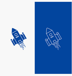 Space craft shuttle space rocket launch line and vector