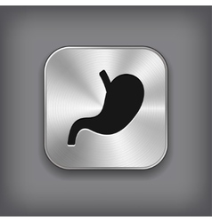 Stomach icon - metal app button vector image