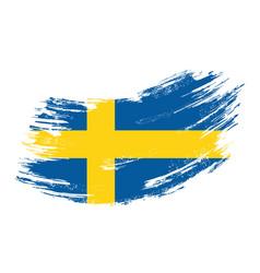 Swedish flag grunge brush background vector