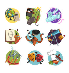 symbols of different professions icons set vector image