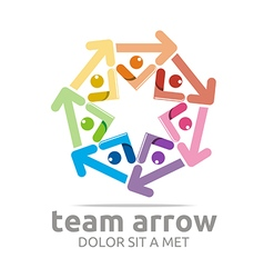 Team arrow circle colorful symbol vector