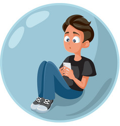 teen boy checking smartphone living in a bubble vector image
