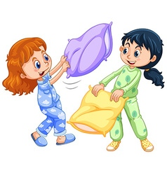 Two girls playing pillow fight at slumber party vector