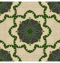 Vintage Card with Green mandala pattern and vector image