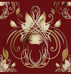 Vintage gold floral daask seamless pattern vector