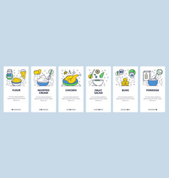 web site onboarding screens breakfast food vector image