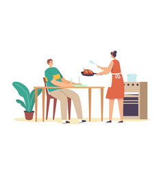 wife serving table for husband female housewife vector image