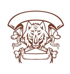 Wolf cross bones banner retro vector