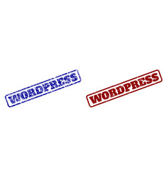 Wordpress blue and red rounded rectangle stamps vector