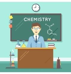 Chemistry teacher in classroom flat vector image