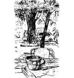 hand drawn sketch coffee cup vector image