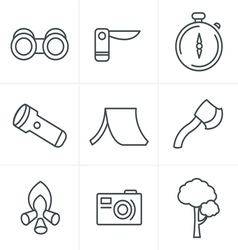 Line Icons Style black camping theme set on gray vector image