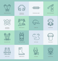personal protective equipment line icons gas mask vector image vector image