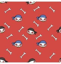 Pirate skull seamless pattern vector image