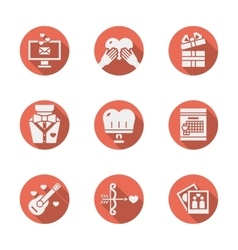 Red round romantic icons set vector image vector image