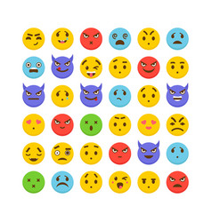 set of emoticons flat design kawaii cute emoji vector image vector image