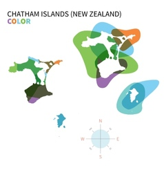 Abstract color map of chatham islands vector