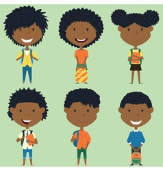 African american school boys and girls vector image