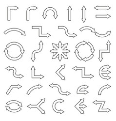 arrows collection with line style and black color vector image vector image