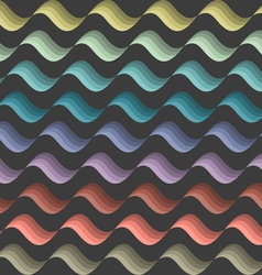 Background with colored stylized waves on black vector image vector image