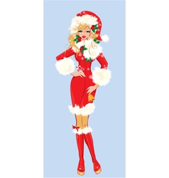 Blond Christmas Girl wearing Santa Claus suit vector image