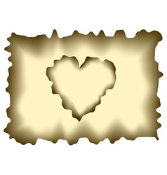 Burnt heart shaped paper vector image vector image