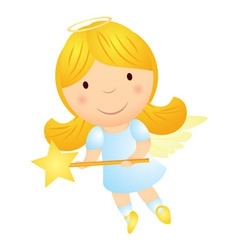 cartoon angel girl with magic wand vector image