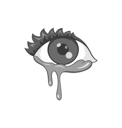 Crying eyes icon black monochrome style vector image vector image